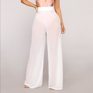 White cover up mesh pants